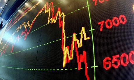 A stock market graph going down