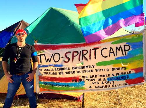 tony-enos-at-oceti-sakowin-in-front-of-the-two-spirit-nation-camp-photo-courtesy-of-tony-enos