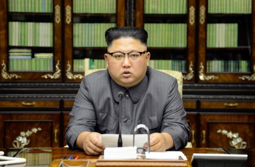 North Korea's leader Kim Jong Un makes a statement regarding U.S. President Donald Trump's speech at the U.N. general assembly
